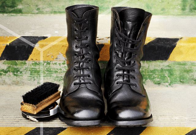 Black boots and shoe polish.
