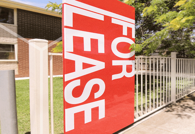 For lease sign on suburban street