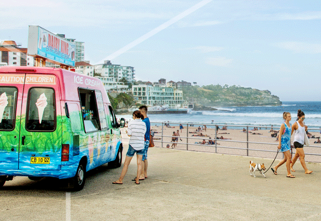 Ice cream truck serving customers at the beach.
