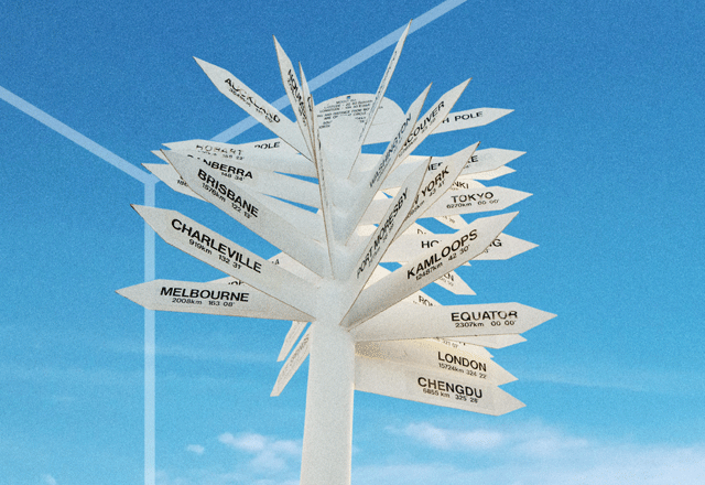 Signpost for many destinations.